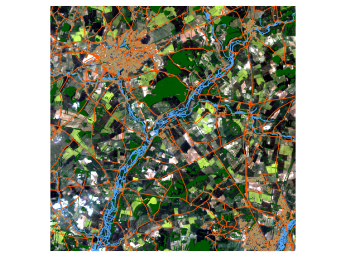 Figure 2: Original Landsat and OS OpenData [Data available from the U.S. Geological Survey. Contains Ordnance Survey data © Crown copyright and database right 2014].