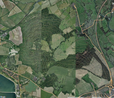 Aerial photography, and OS open data of the Wytham Woods site.