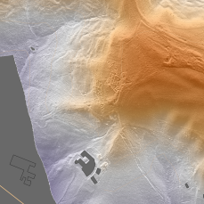Trench system as shown in the hill-shaded LiDAR data